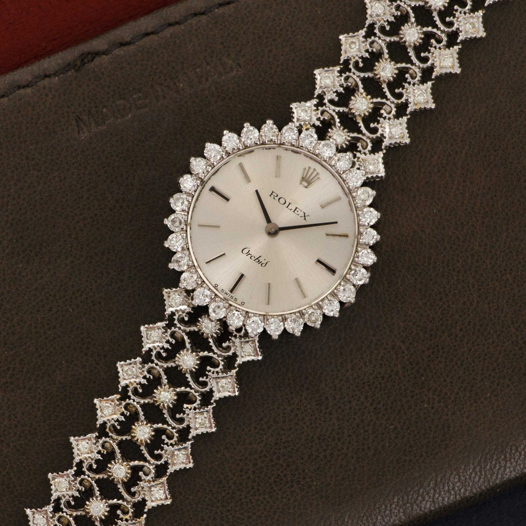 Rolex Orchid N/A 18k WG  Excellent Unisex 18k WG Silver Dial 24mm Manual 1970s 18k White Gold Diamond Bracelet Leather Travel Case