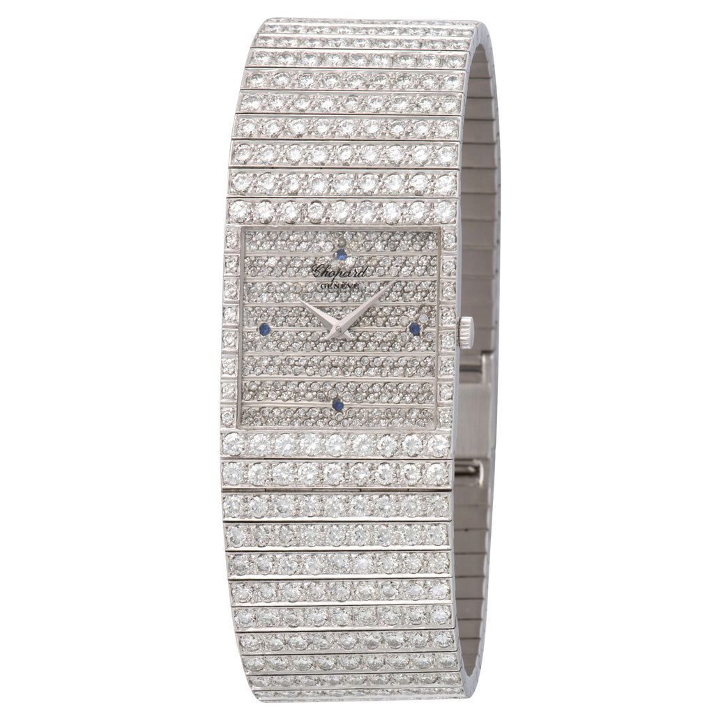 Chopard Classique 14/2843 18k WG  Excellent Unisex 18k WG Pave Diamond with Sapphire Markers 24.5mm Manual 1980s White Gold Bracelet with Original Diamonds Leather Travel Case