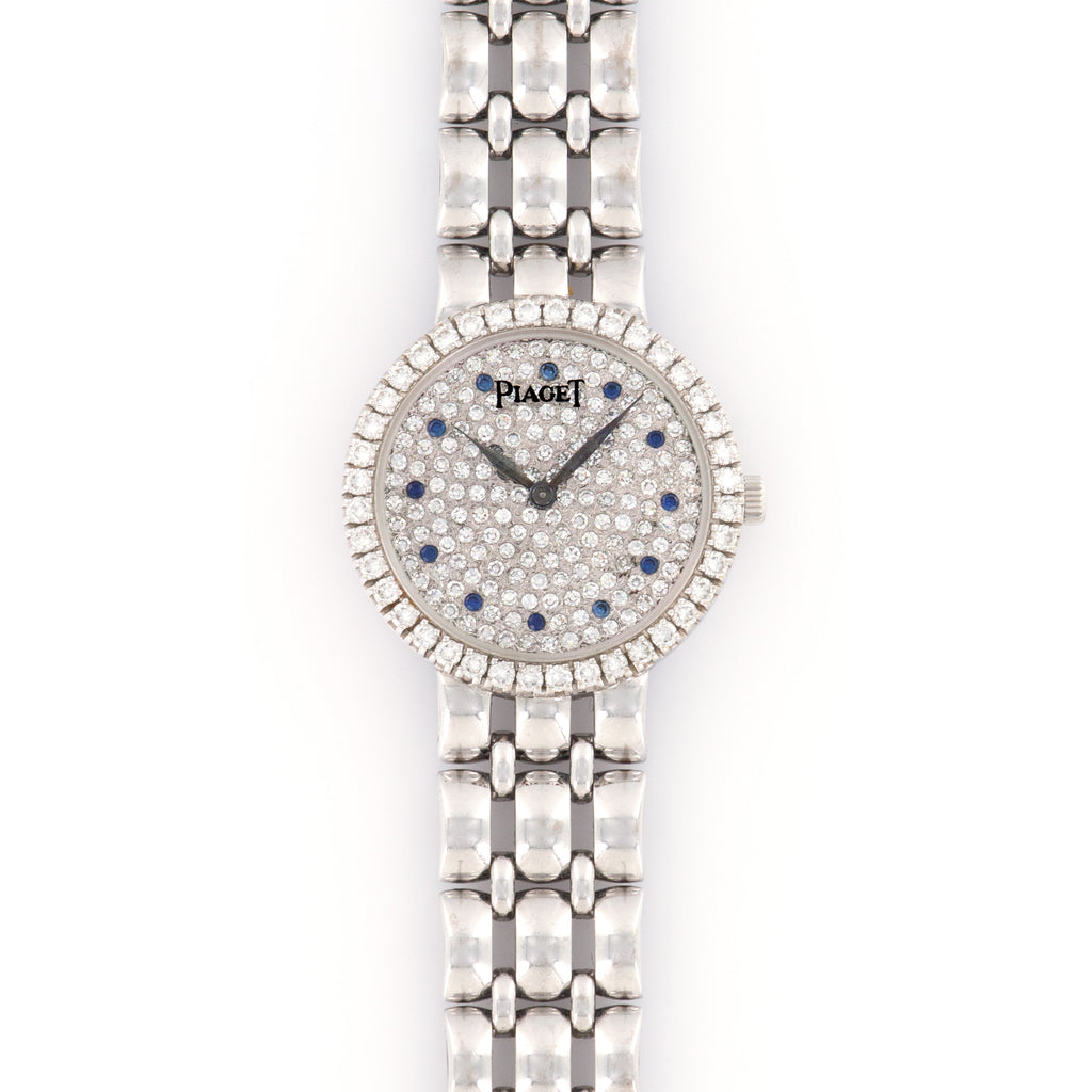 Piaget Vintage 4066 18k WG  Excellent Ladies 18k WG Pave Diamond with Sapphire Markers 24mm Manual 1980s White Gold Bracelet Leather Travel Case