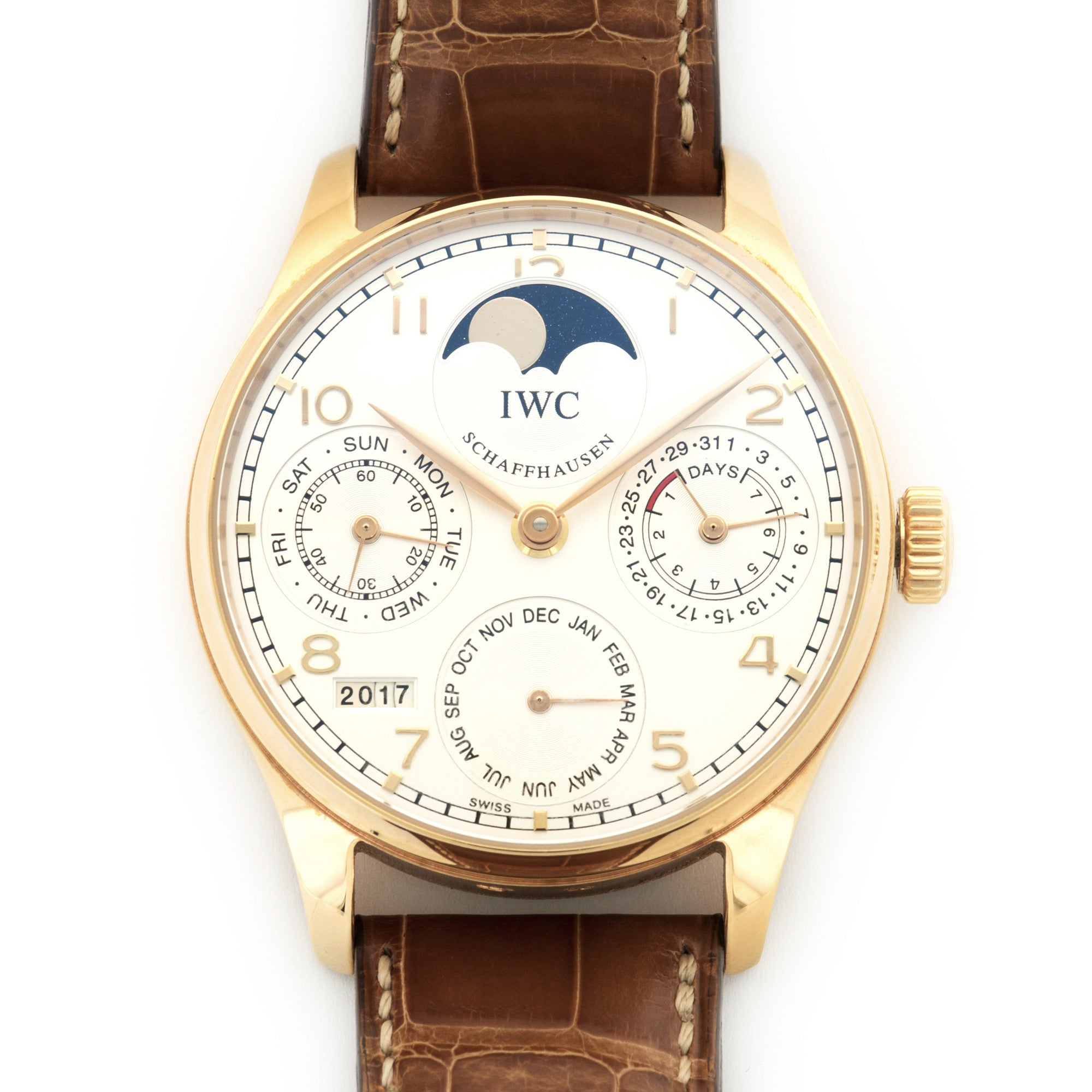 IWC Portuguese IW502306 18k RG  Likely Never Polished, Original Finish Gents 18k RG Silver 44.2mm Automatic Current Brown Crocodile Original Box and Certificate