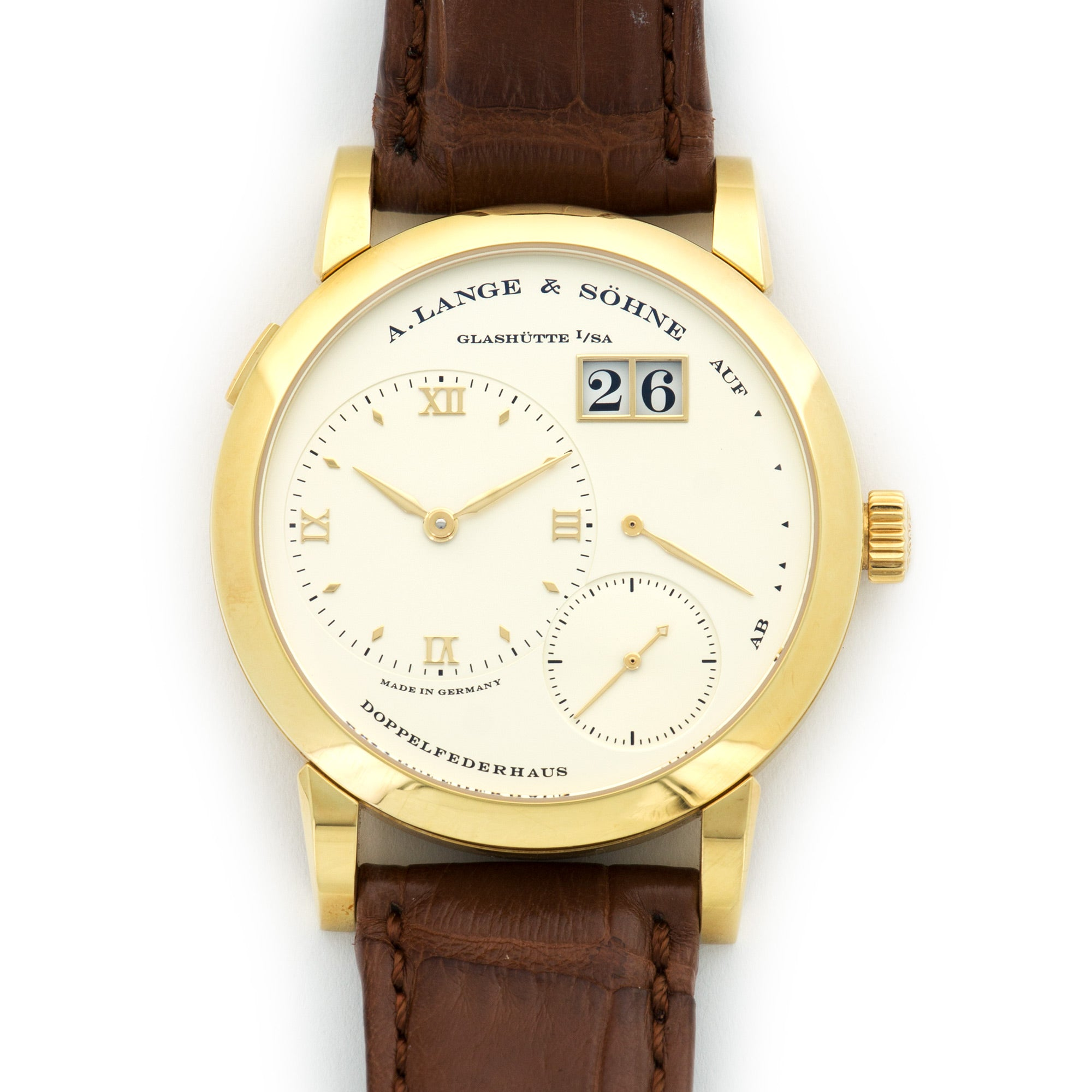 A. Lange & Sohne Lange 1 101.021 18k YG  Overall Mint Original Condition Gents 18k YG Silver 38.5mm Manual 2012 Brown Crocodile Original Box and Certificate