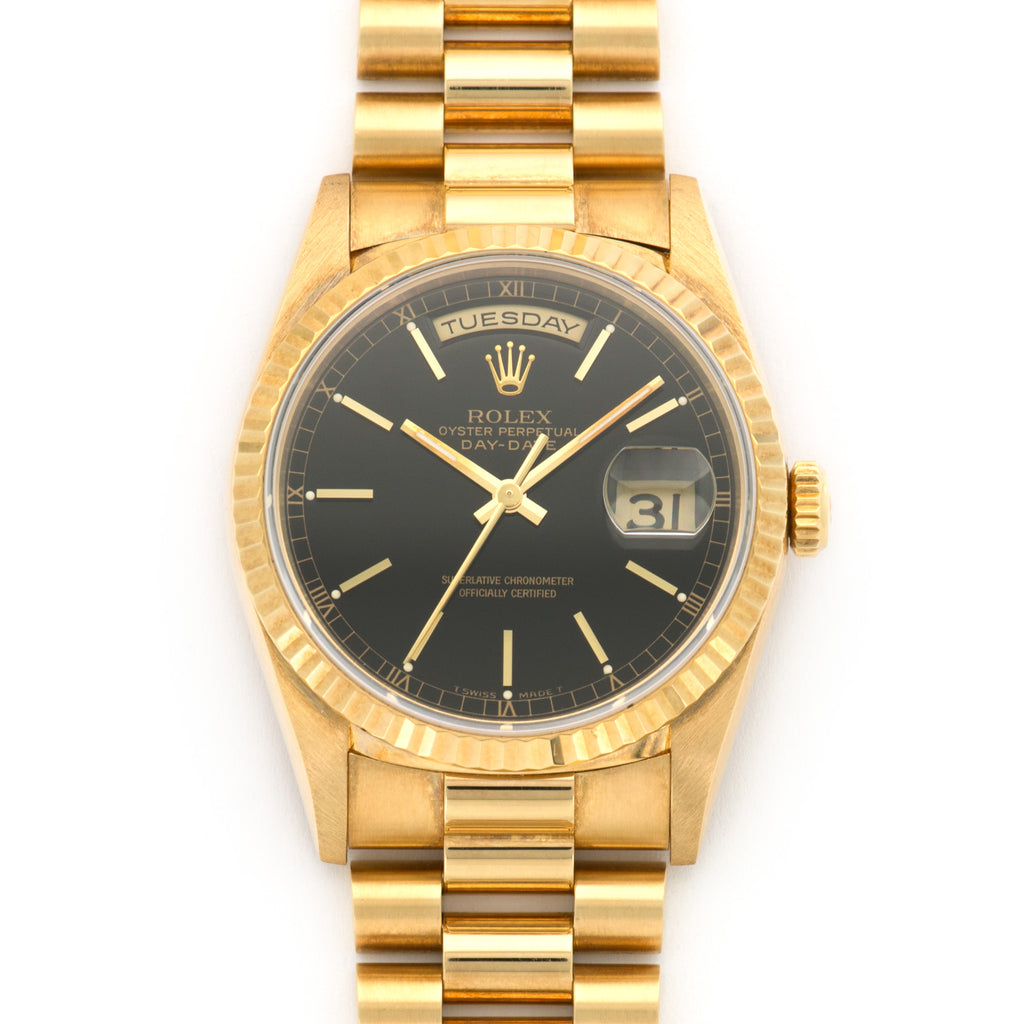 Rolex Day-Date 18238 18k YG  Likely Never Polished, Original Finish Unisex 18k YG Black 36mm Automatic 1995 Yellow Gold Bracelet Original Warranty Paper