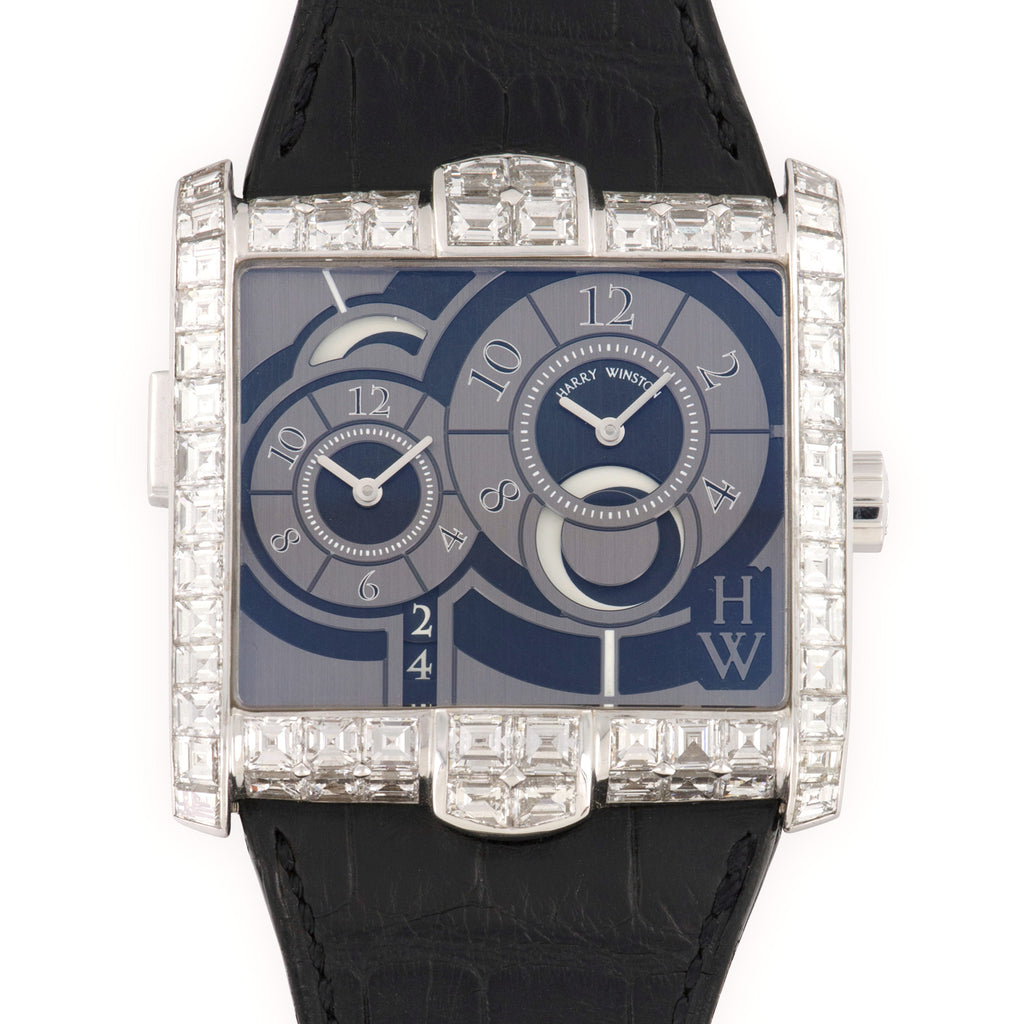 Harry Winston Avenue 250MATZW 18k WG  Excellent Unisex 18k WG Grey and Black 43mm Automatic 2000s Black Crocodile Strap Leather Travel Case