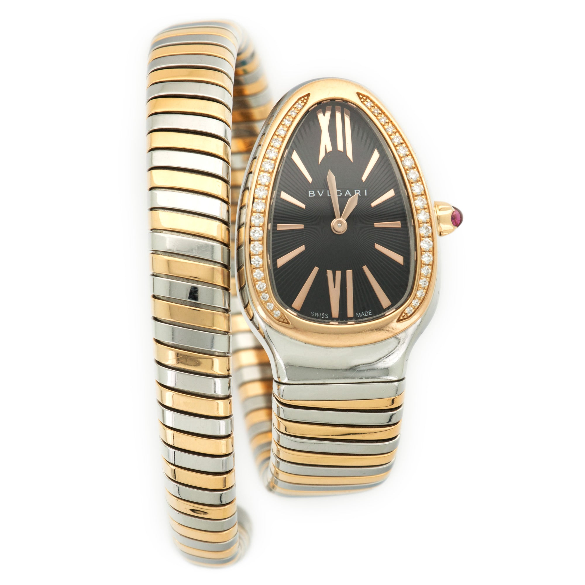 Bulgari Serpenti SP35SPG SS/RG  Excellent Ladies SS/RG Black 22mm Quartz Current Two-Tone Rose Gold B+P