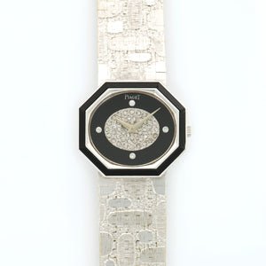Piaget Vintage 93431 18k WG  Very Good Gents 18k WG Onyx and Diamonds 26.5mm X 23.5mm Manual 1970s White Gold (167mm) N/A