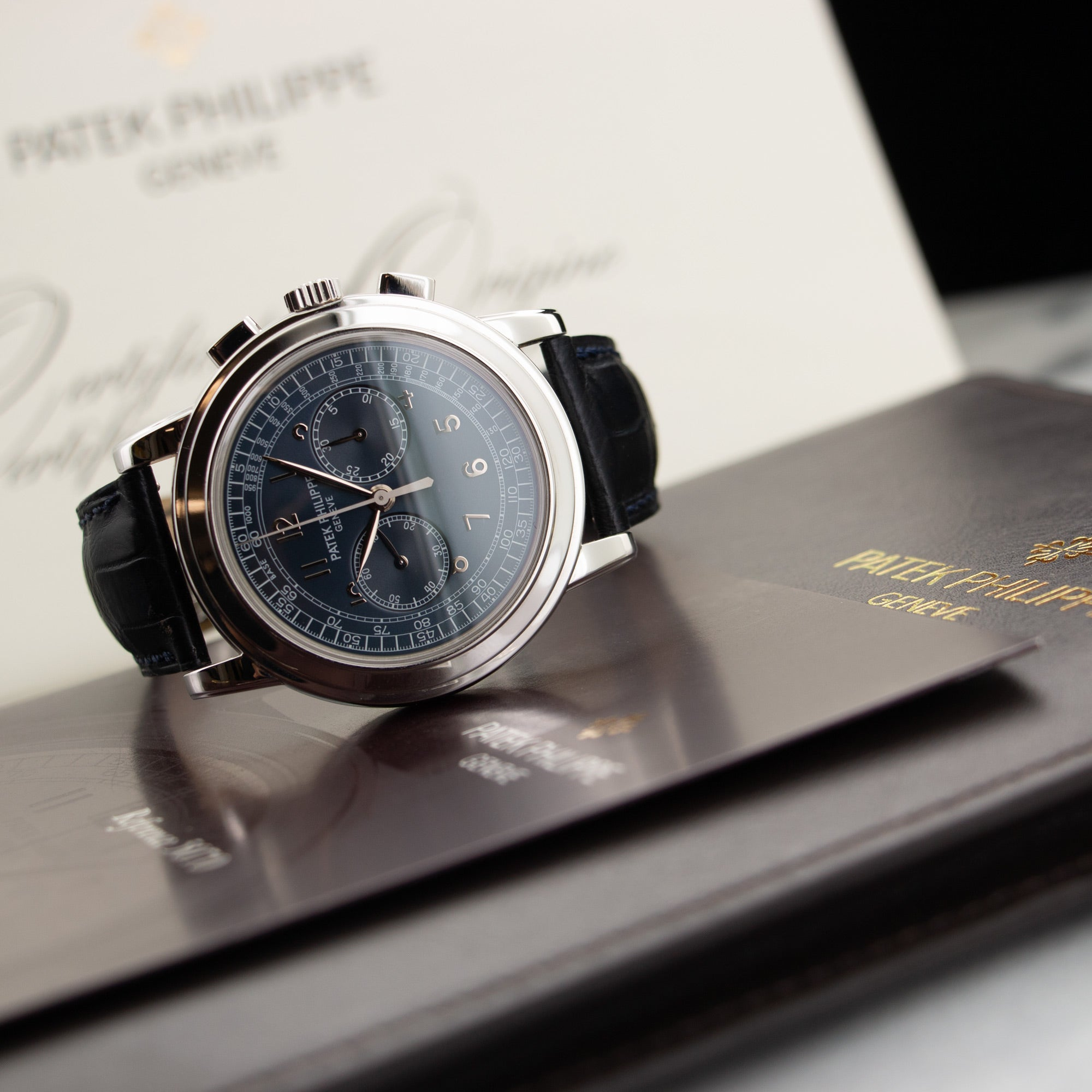 Patek Philippe Chronograph 5070P-001 Platinum  Likely Never Polished, Original Finish Gents Platinum Blue 42mm Manual 2009 Dark Blue Crocodile Original Box and Certificate