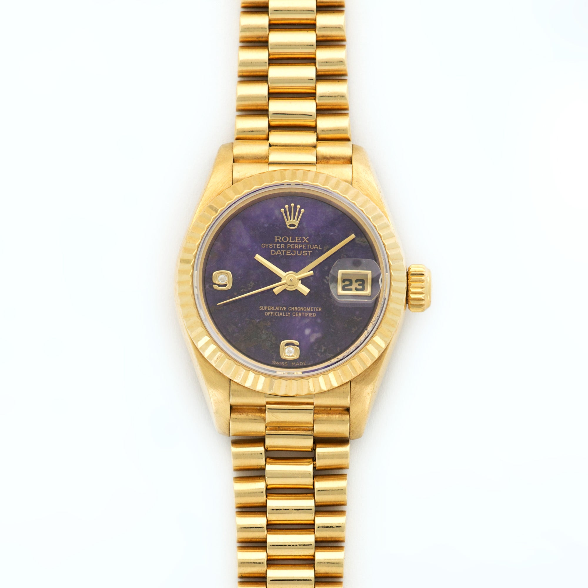 Rolex Datejust 69178 18k YG  Excellent Ladies 18k YG Amethyst Stone 26mm Automatic 1990s Yellow Gold Bracelet