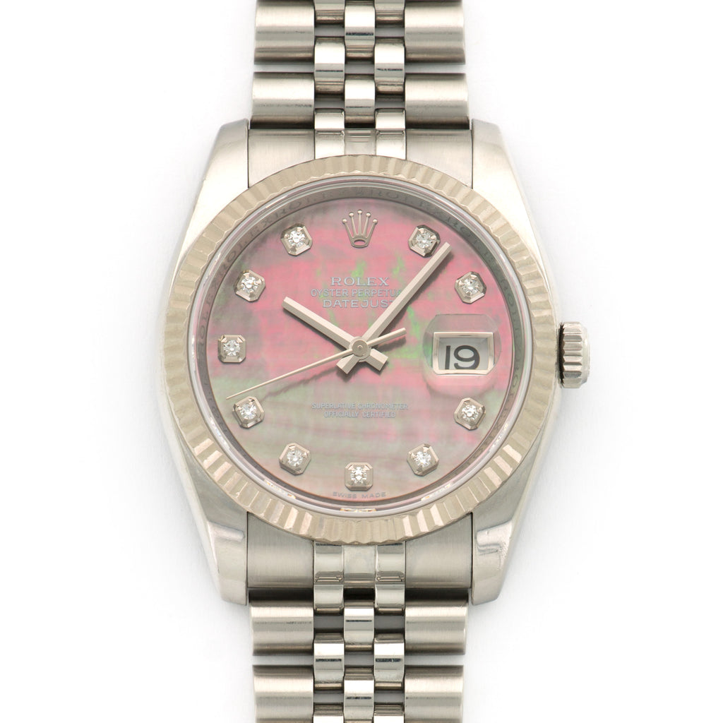 Rolex Datejust 116234 Steel  Excellent Unisex Steel Mother of Pearl with Diamond Markers 36mm Automatic 2008 Steel B+P