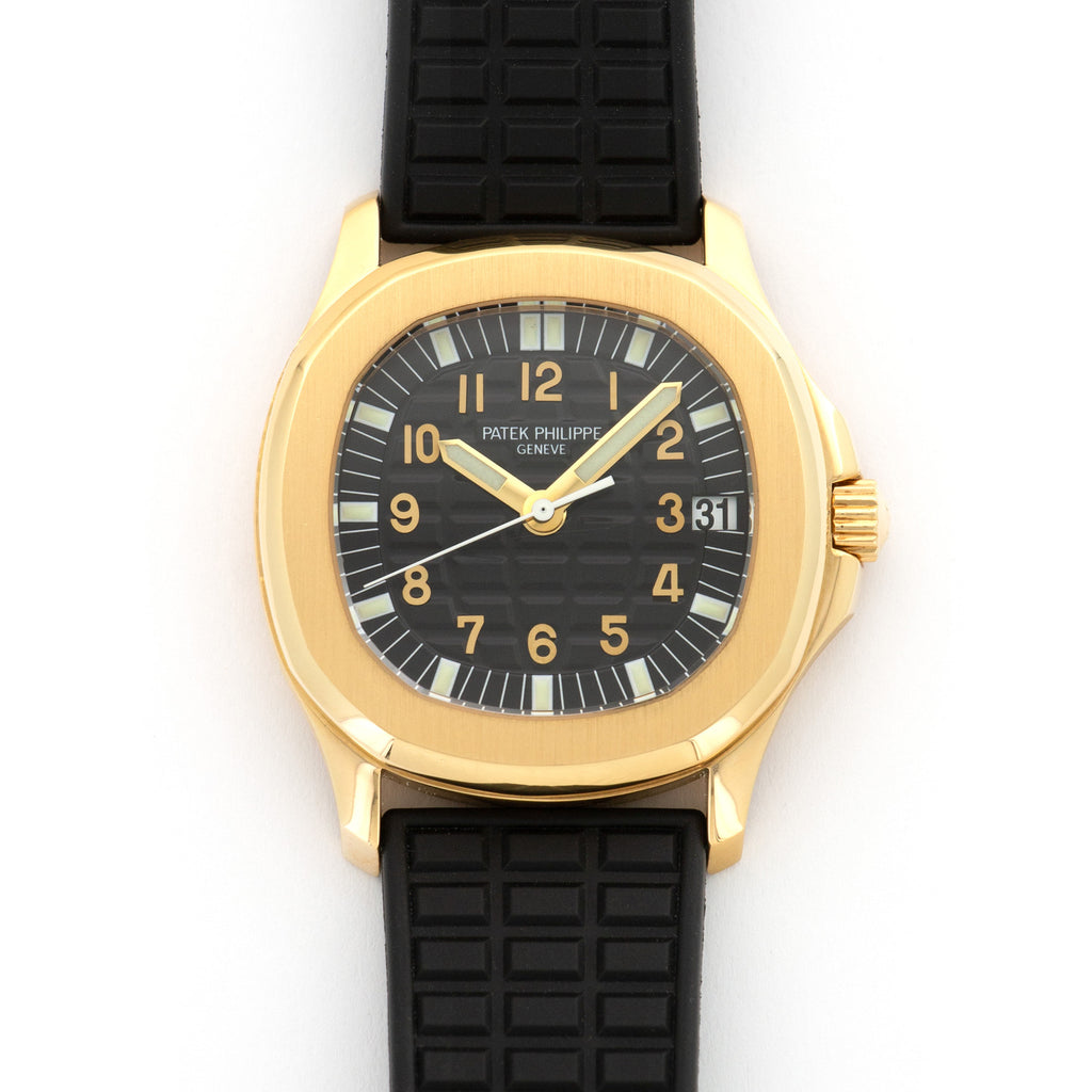 Patek Philippe Aquanaut 5066J 18k YG  Likely Never Polished, Original Finish Unisex 18k YG Black 36.5mm Automatic Early 2000s Black Rubber Strap Leather Travel Case