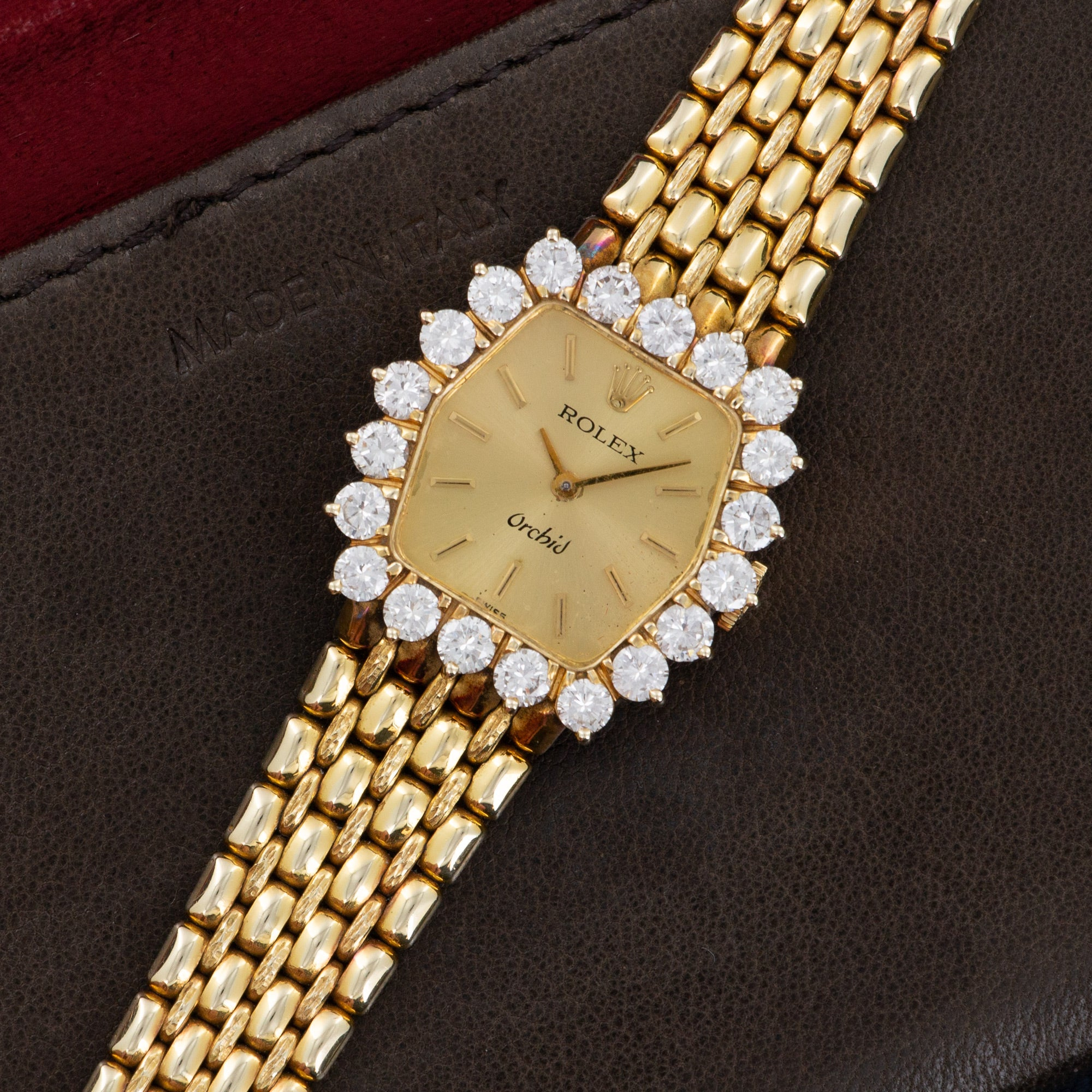 Rolex Orchid N/A 18k YG  Excellent Ladies 18k YG Gold Dial with Stick Markers 25mm Manual 1970s Yellow Gold Bracelet Leather Travel Case