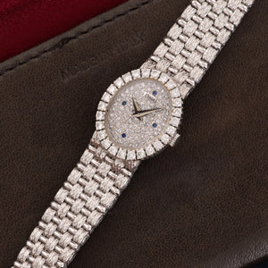 Piaget Vintage 4326 18k WG  Likely Never Polished, Original Finish Ladies 18k WG Pave Diamond with Sapphire Indexes 18mm Manual 1970s White Gold Bracelet Leather Travel Case