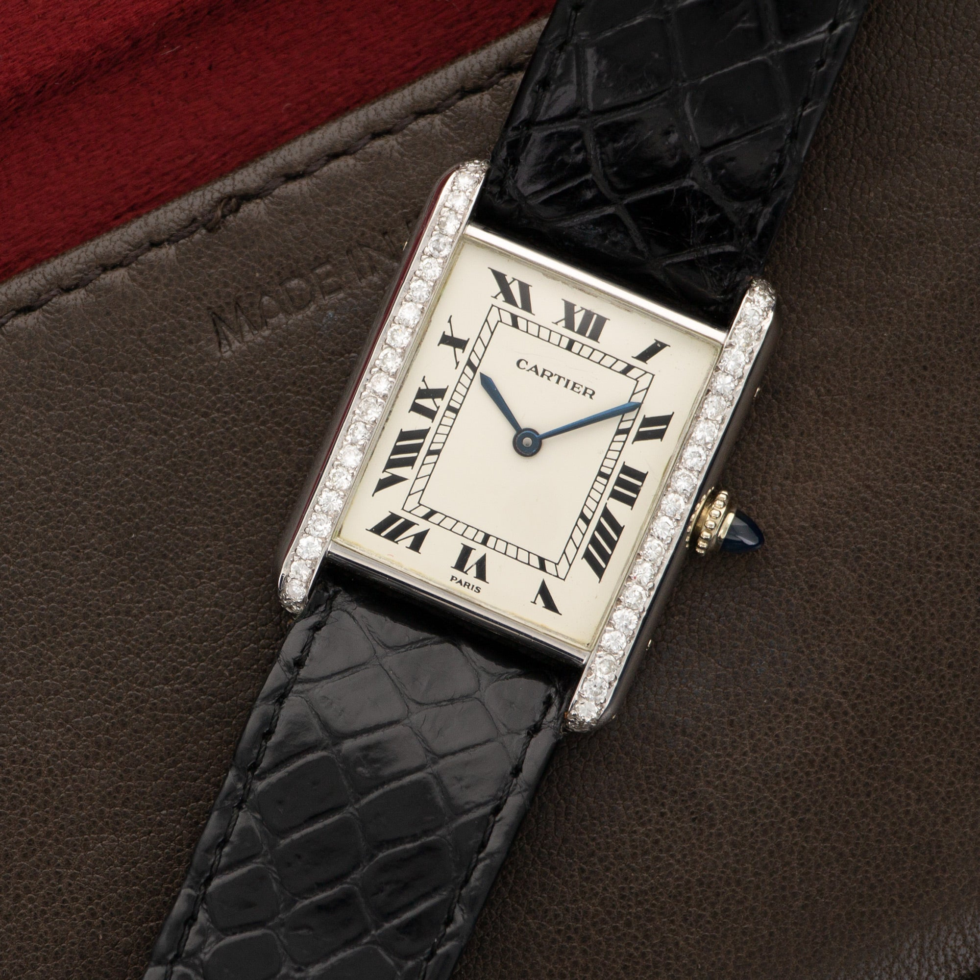 Cartier Tank N/A 18k WG  Excellent Unisex 18k WG Silver 24 X 30mm Manual 1980s Black Crocodile Leather Travel Case