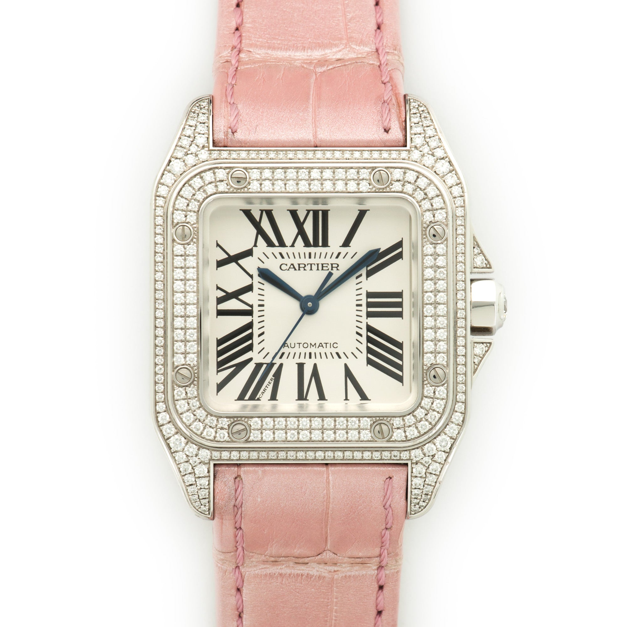 Cartier Santos 100 WM501751 18k WG  Excellent Unisex 18k WG Silver with Roman Numerals 44 X 33mm Automatic 2000s Pink Crocodile Original Box and Certificate