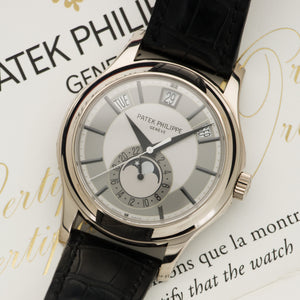 Patek Philippe Annual Calendar 5205G 18k WG  Likely Never Polished, Original Finish Gents 18k WG Silver 40mm Automatic 2016 Black Crocodile Original Box and Certificate
