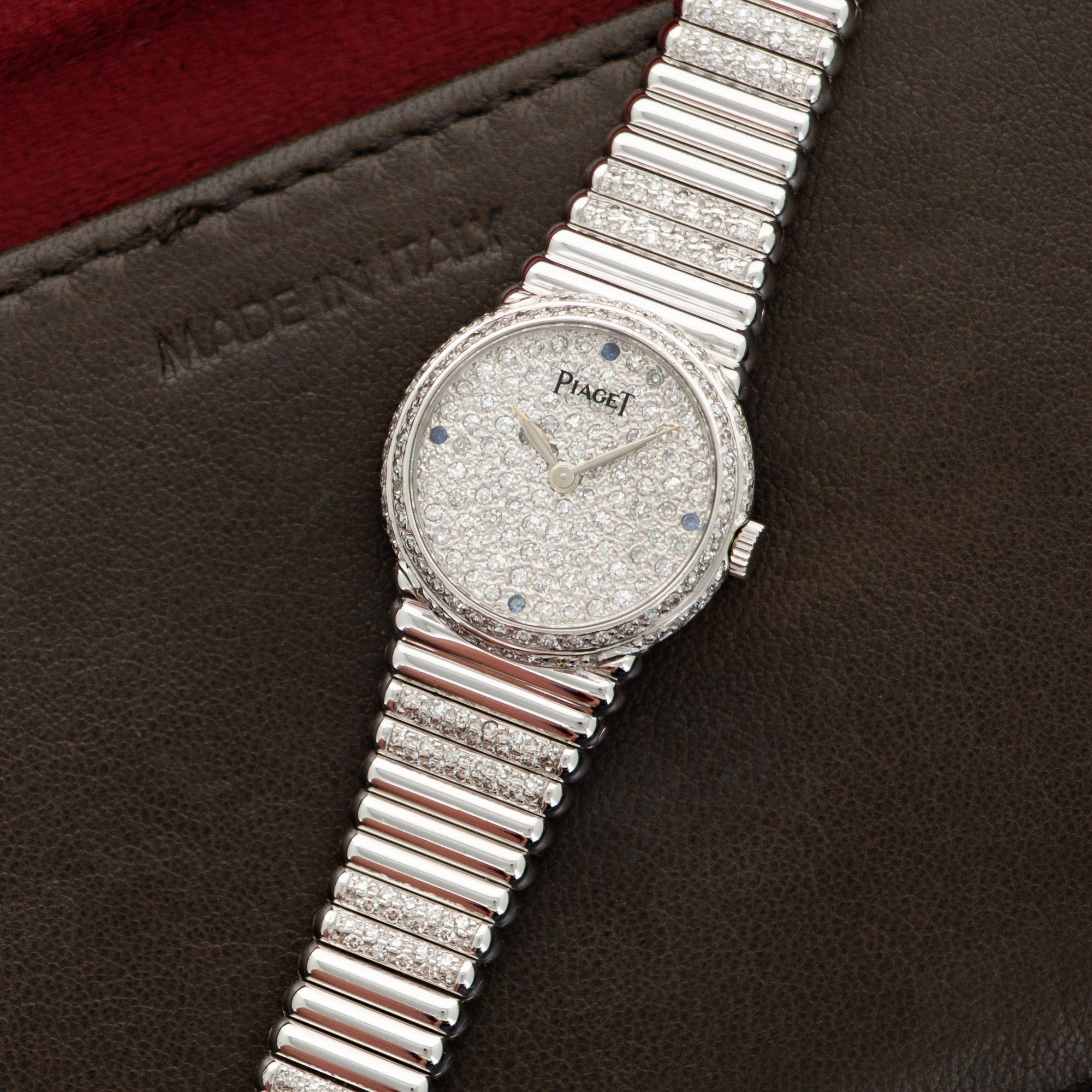 Piaget Vintage 4152 18k WG  Excellent Ladies 18k WG Pave Diamond with Sapphire Markers 22mm Manual 1970s White Gold with Diamond Bracelet (180mm) Leather Travel Case