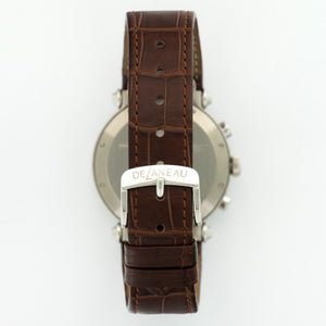 DeLaneau 3 Time Zones N/A Stainless Steel  Mint Unisex Stainless Steel Silver 38mm Automatic/Quartz 2000s Brown Crocodile B+P