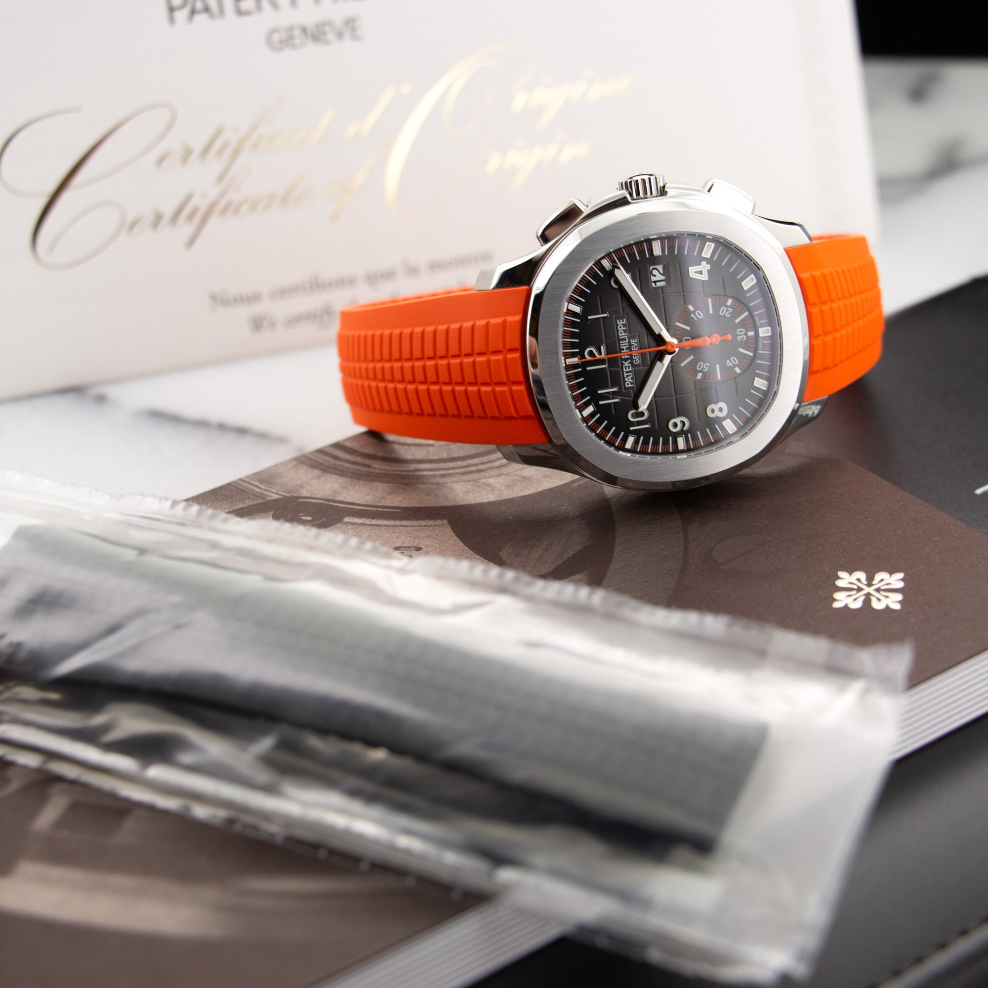 Patek Philippe Aquanaut 5968A-001 Steel  Unworn Gents Steel Black with Orange Details 42.5mm Automatic 2018 Orange and Black Rubber Original Box and Certificate