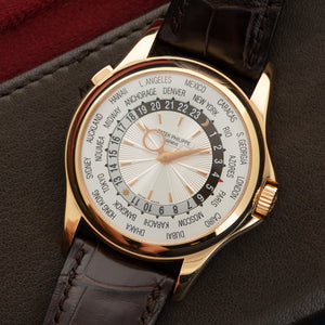 Patek Philippe World Time 5130R 18k RG  Some Hairline Scratches, Can Be Polished Upon Request Gents 18k RG Silver 39.5mm Automatic 2000s Brown Crocodile Archive Paper on Order