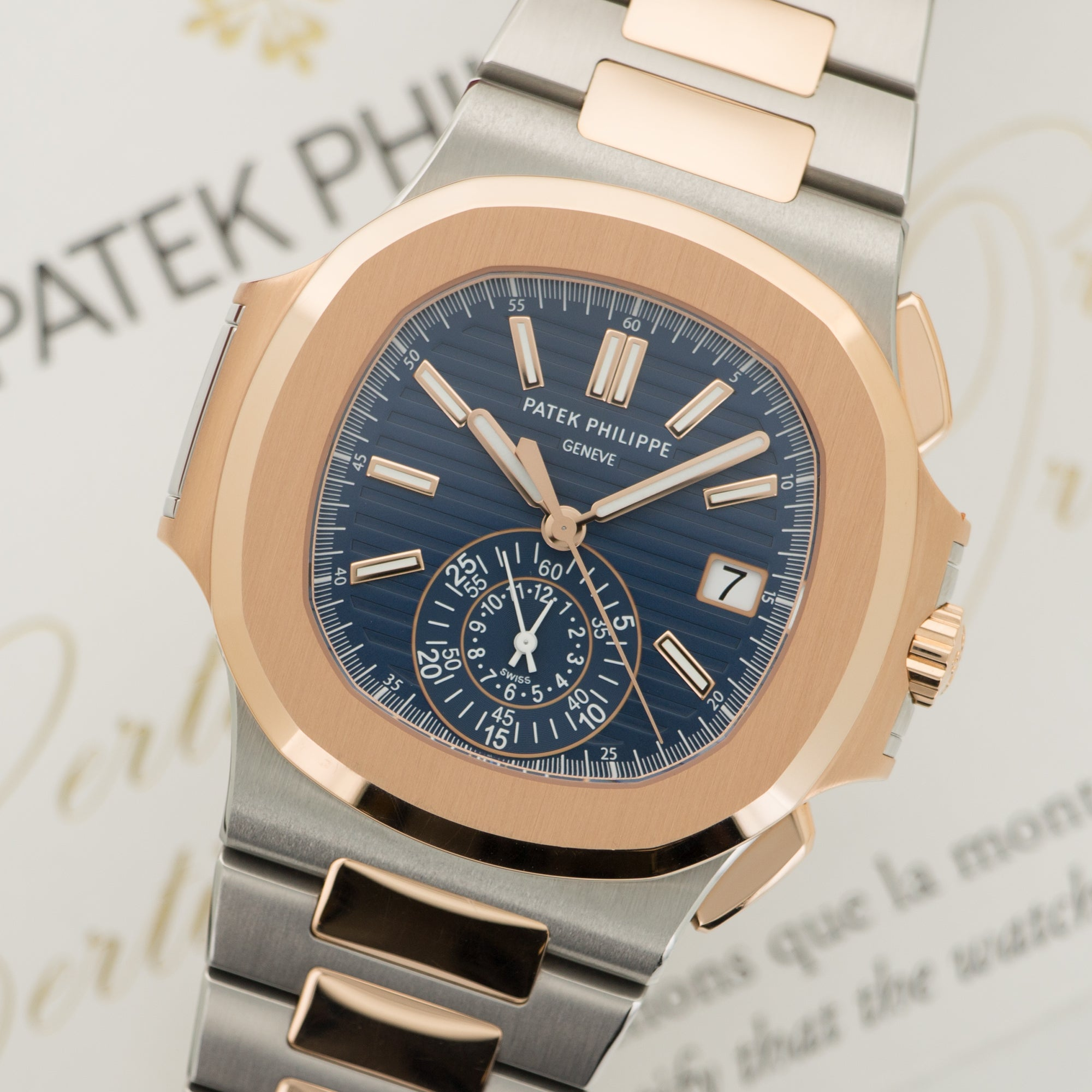 Patek Philippe Nautilus Chronograph 5980/1AR SS/RG  Like New, Worn a Few Times Unisex SS/RG Blue 40mm Automatic 2017 Two-Tone Rose Gold Bracelet Original Box and Certificate