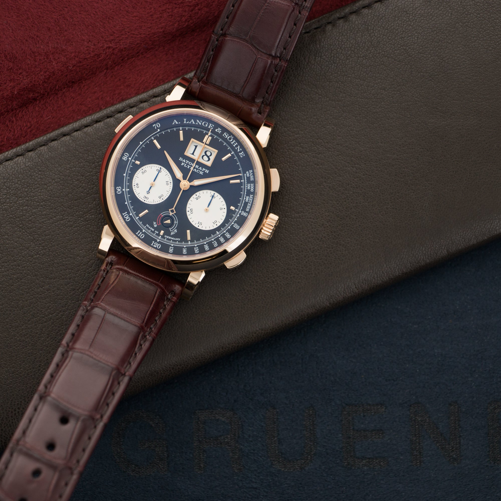 A. Lange & Sohne Datograph 405.031 18k RG  Mint Gents 18k RG Black 41mm Manual 2015 Burgundy Crocodile Strap B+P
