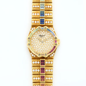 Chopard St. Moritz 25/4334-24 18k YG  Excellent Ladies 18k YG Pave 24.5mm Quartz 1990s Yellow Gold Bracelet with Diamonds N/A