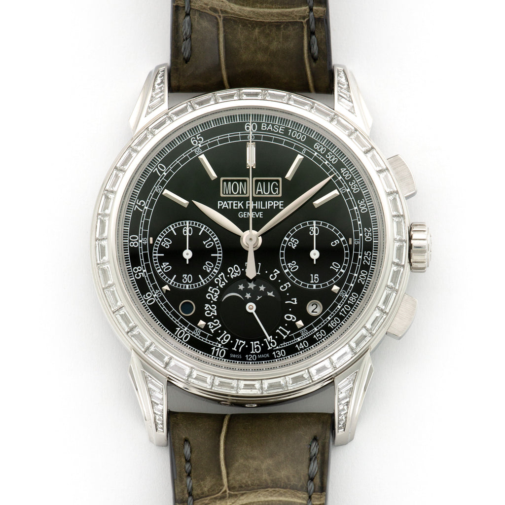 Patek Philippe Perpetual Calendar Chrono 5271P-001 Platinum  Likely Never Polished, Original Finish Gents Platinum Black 41mm Manual 2016 Grey Crocodile Original Box and Certificate