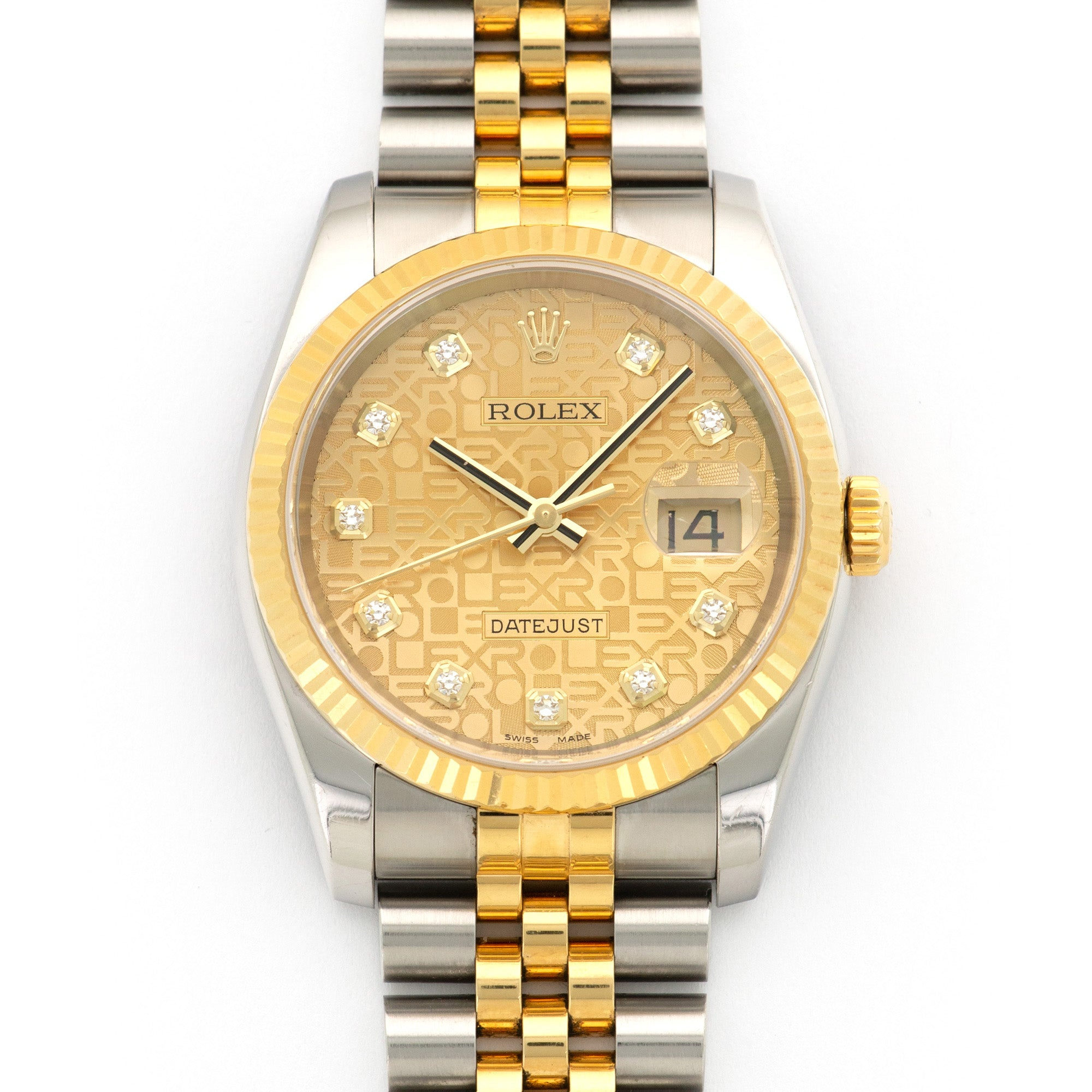 Rolex Datejust 116233 Two-Tone  Excellent Unisex Two-Tone Champagne Jubilee with Diamond Markers 36mm Automatic 2006 Two-Tone Jubilee Bracelet Original Warranty Paper