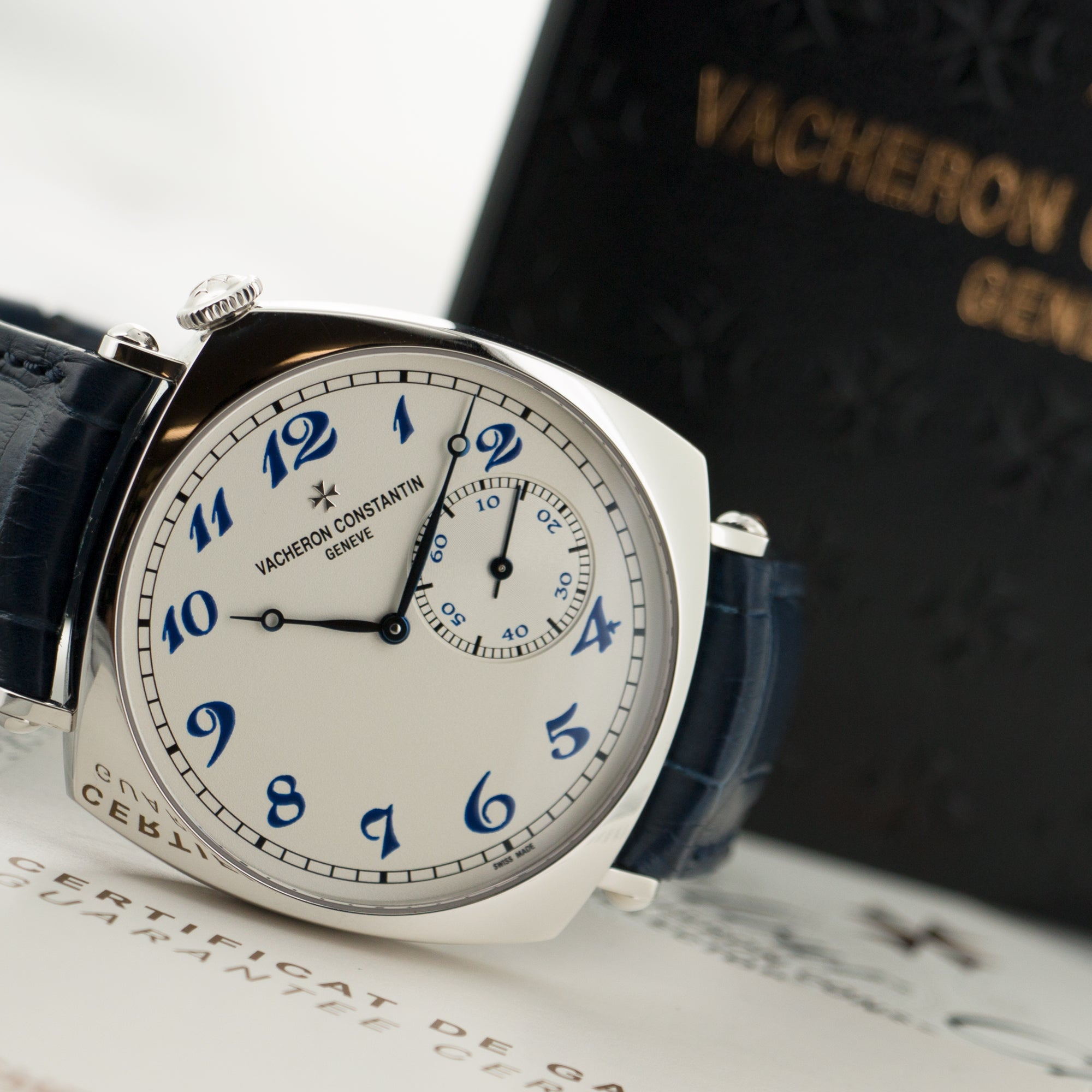 Vacheron Constantin Historiques 1921 82035/000P-b168 Platinum  Like New, Worn a Few Times Gents Platinum White with Blue Arabics 40mm Manual 2017 Blue Crocodile Original Box and Certificate