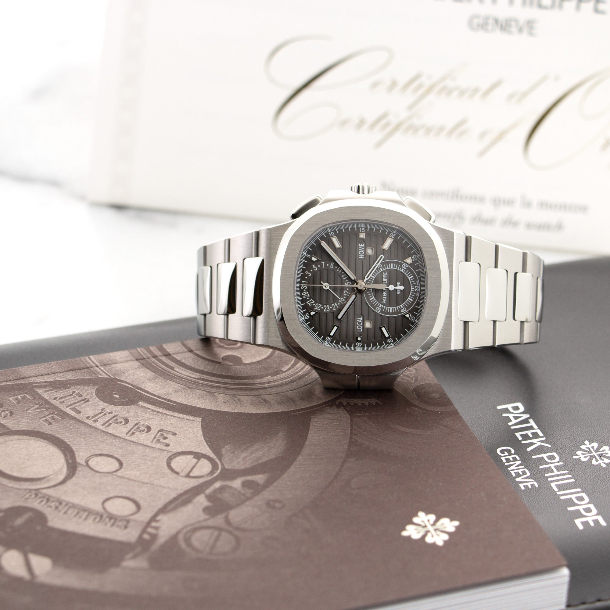Patek Philippe Nautilus Chronograph 5990/1A-001 Steel  Unworn Gents Steel Black 40.5mm Automatic 2018 Stainless Steel Original Box and Certificate