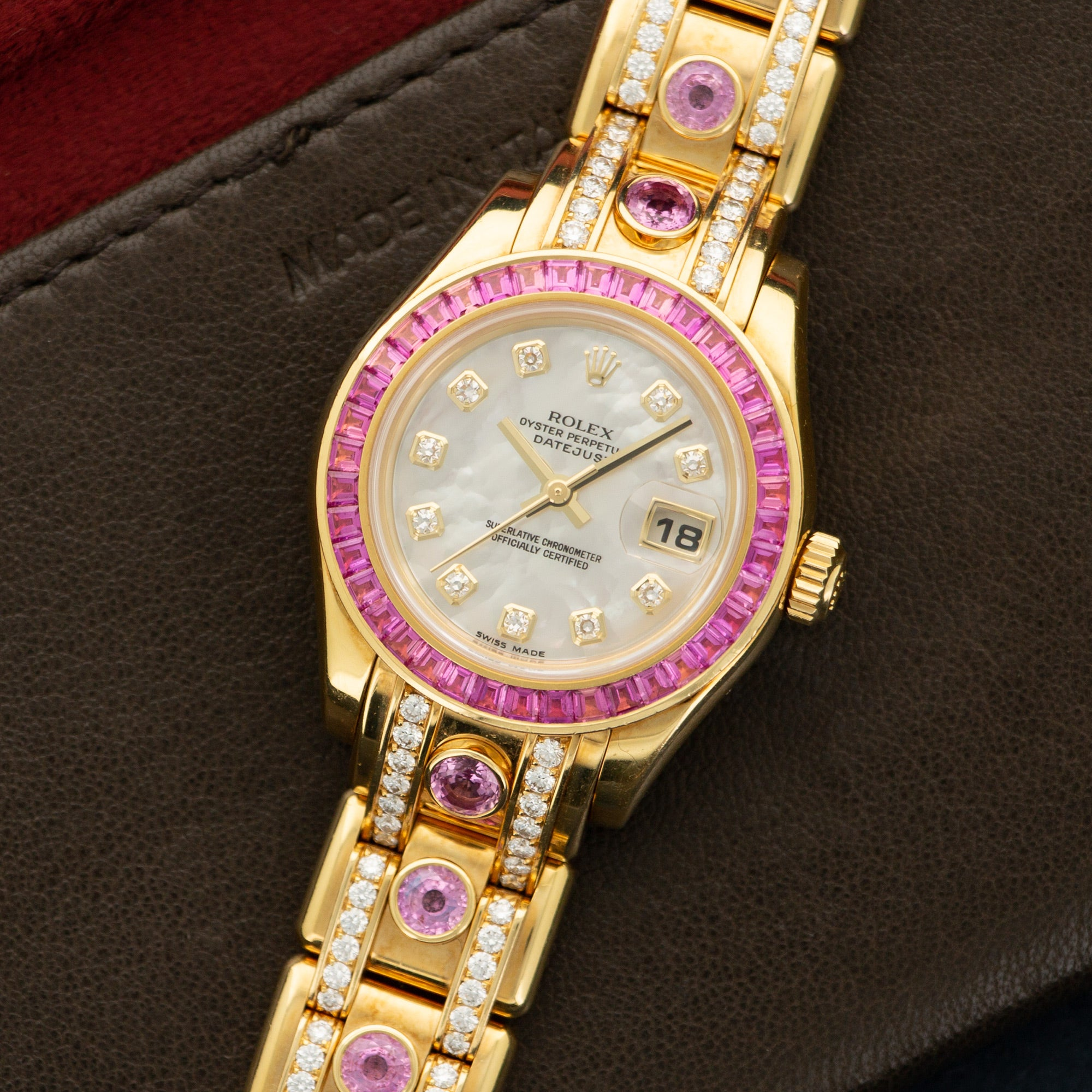 Rolex Datejust 80308 18k YG  Excellent Ladies 18k YG Mother of Pearl with Diamonds 29mm Automatic 2000s Yellow Gold with Diamonds and Pink Sapphires (6.5) Original Box