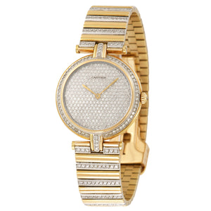 Cartier VLC N/A 18k YG  Excellent Ladies 18k YG Pave Diamond Dial 30mm Quartz 1990s N/A