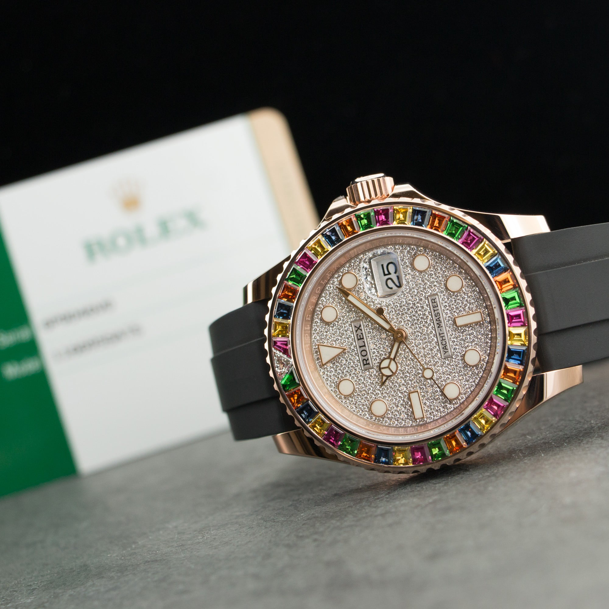 Rolex Yacht-Master 11669SATS 18k RG  Unworn Unisex 18k RG Pave Diamond 40mm Automatic Current Rubber Box, Manuals, Warranty Card