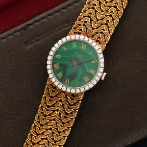 Piaget Vintage 9706 18k YG  Very Good Ladies 18k YG Malachite 25mm Manual 1970s Yellow Gold Bracelet (156mm) Handmade Leather Travel Pouch