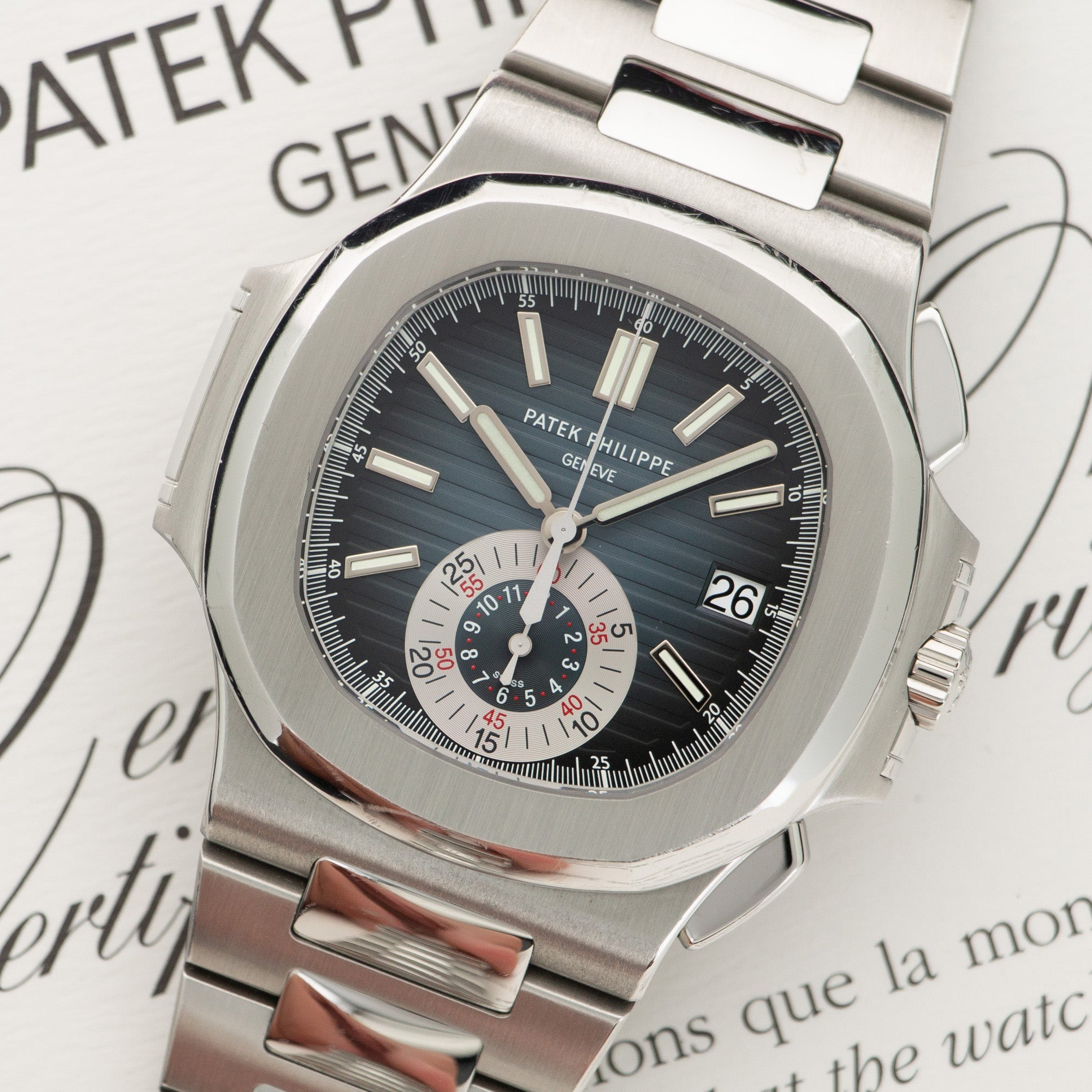 Patek Philippe Nautilus Chronograph 5980/1A-001 Steel  Mint Gents Steel Blue 40mm Automatic 2011 Stainless Steel Original Box and Certificate