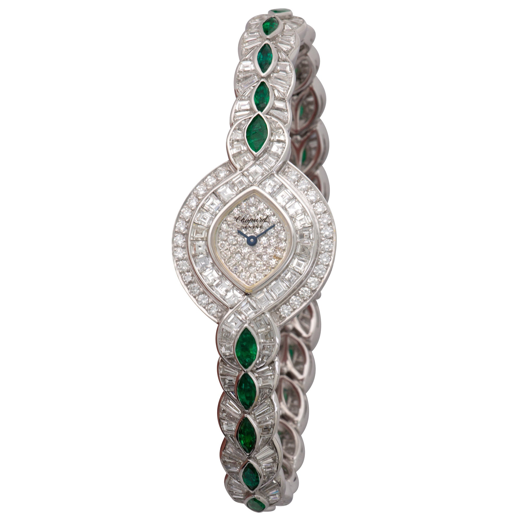 Chopard Classique 105922-1001 18k WG  Mint Ladies 18k WG Pave Diamond 25mm Quartz 2000s White Gold with Diamond and Emeralds Original Box