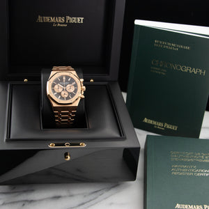 Audemars Piguet Royal Oak Chrono 26331OR.OO.1220OR.02 18k RG  Mint Gents 18k RG Brown 41mm Automatic 2017 Rose Gold Original Box and Certificate