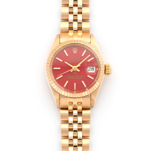 Rolex Datejust 6917 18k RG  Excellent Ladies 18k RG Original Red Enamel Stella Dial 27mm Automatic 1972 Rose Gold Leather Travel Case