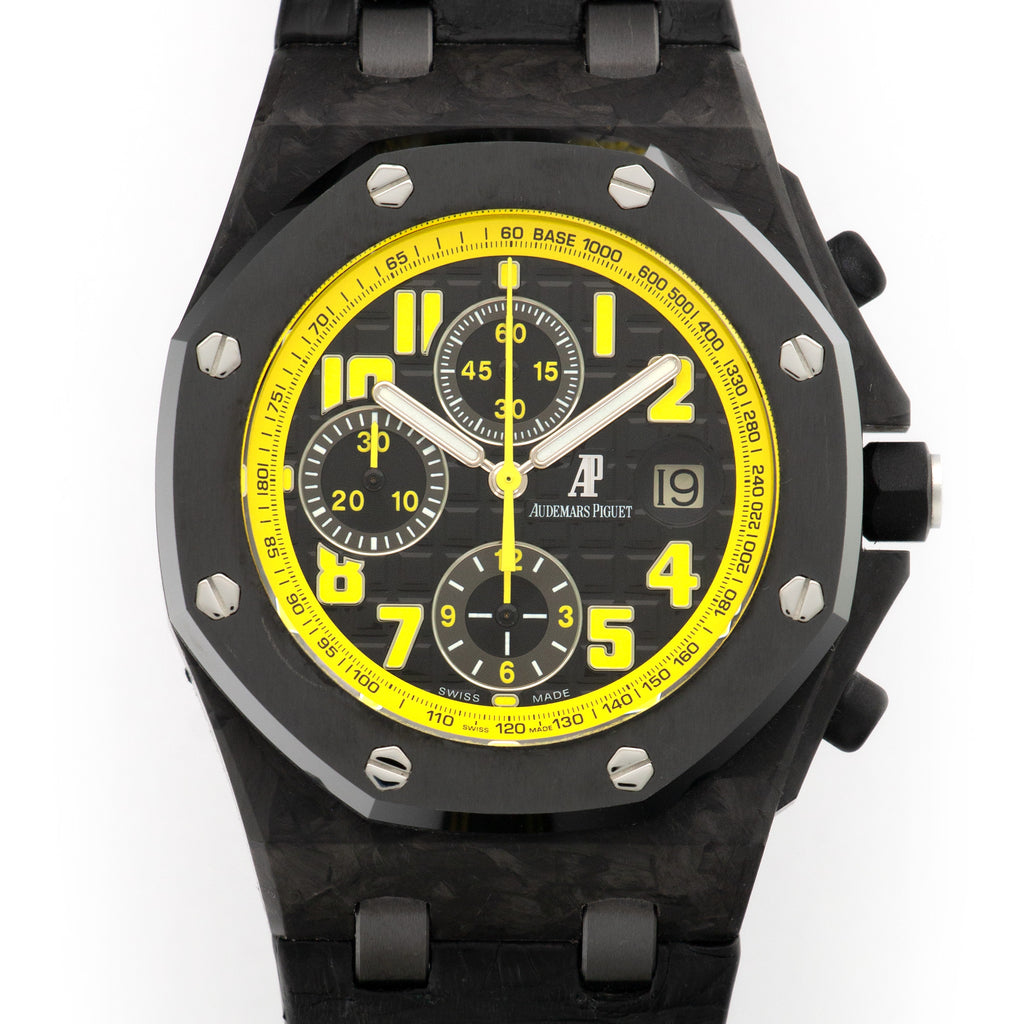 Audemars Piguet Royal Oak Offshore 26176FO.OO.D101CR.02 Carbon Fiber  Excellent Gents Carbon Fiber Black 42 mm Automatic 2000s Black Crocodile with Yellow Stiching Leather Travel Case
