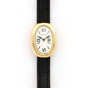 Cartier Baignoire N/A 18k YG  Likely Never Polished, Original Finish Ladies 18k YG White with Black Numerals 20mm X  27mm Manual 1960s Black Crocodile Leather Travel Case