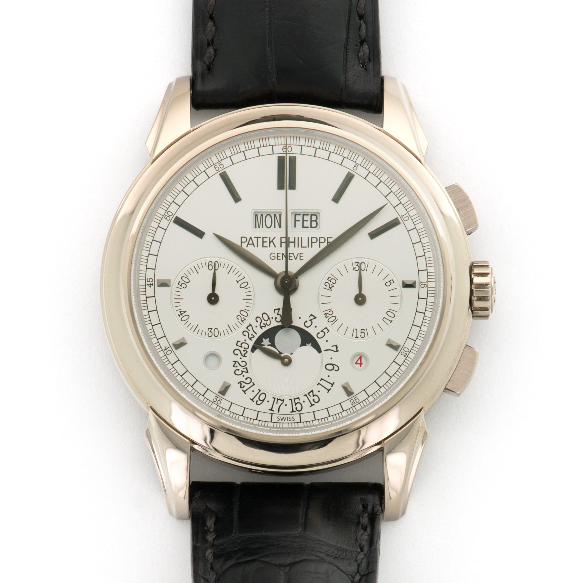 Patek Philippe Perpetual Calendar Chrono 5270G 18k WG  Likely Never Polished, Original Finish Gents 18k WG Silver 41mm Manual 2013 Dark Blue Crocodile Original Box and Certificate