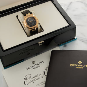 Patek Philippe Nautilus Moonphase 5712R 18k RG  Likely Never Polished, Original Finish Gents 18k RG Brown 40mm Automatic 2009 Brown Crocodile Strap Original Box and Certificate