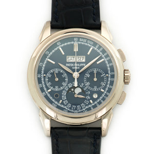 Patek Philippe Perpetual Calendar Chrono 5270G-014 18k WG  Likely Never Polished, Original Finish Gents 18k WG Blue 41mm Manual 2015 Dark Blue Crocodile Original Box and Certificate