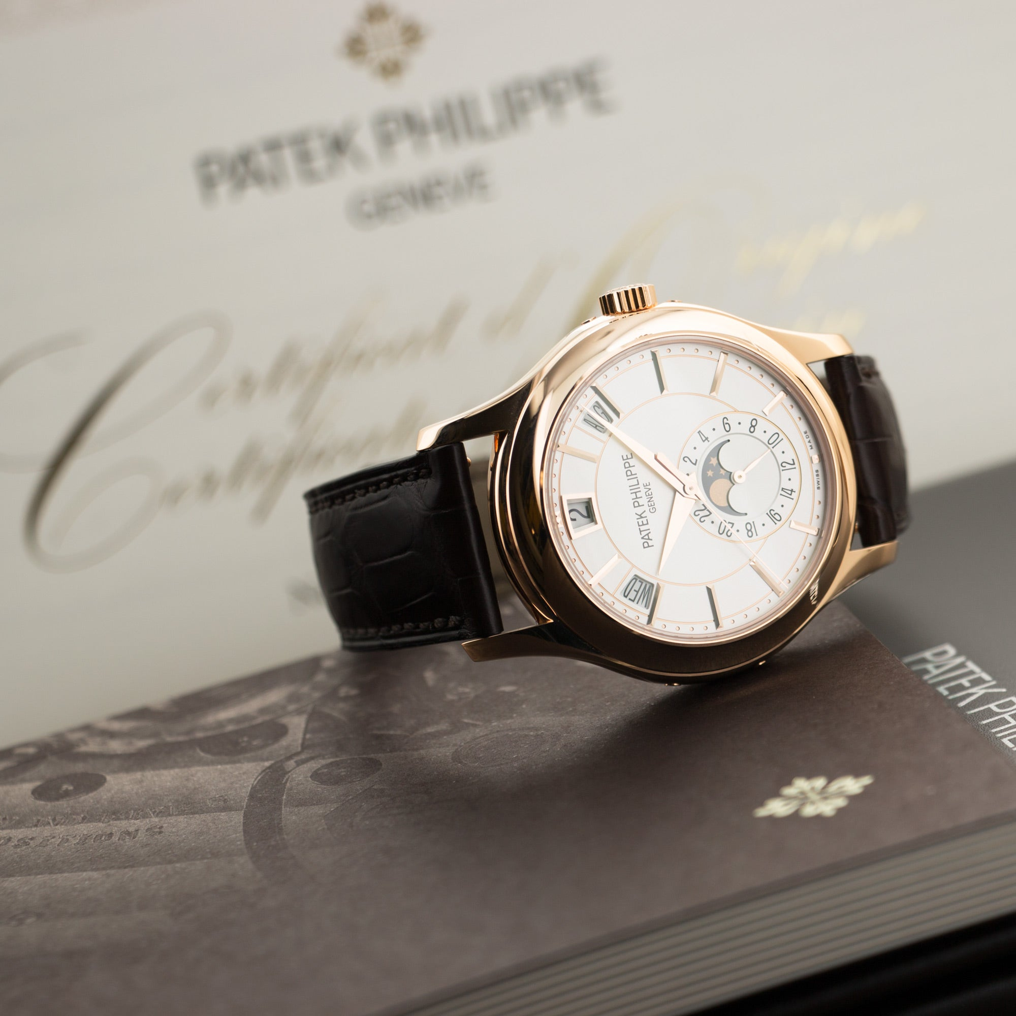 Patek Philippe Annual Calendar 5205R-001 18k RG  Like New, Worn a Few Times Gents 18k RG Opaline 40mm Automatic 2017 Brown Crocodile Original Box and Certificate