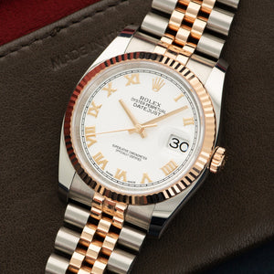 Rolex Datejust 116231 SS/RG  Mint Unisex SS/RG White with Roman Numerals 36mm Automatic 2015 Two-Tone Rose Gold Bracelet Original Box