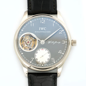 IWC Portuguese IW544703 18k WG  Mint Gents 18k WG Grey 44mm Manual 2015 Black Crocodile B+P