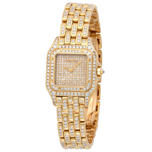 Cartier Panthere 1070 2 18k YG  Mint Ladies 18k YG Pave Diamonds 24mm Quartz 1990s Yellow Gold Bracelet with Original Diamonds Leather Travel Case