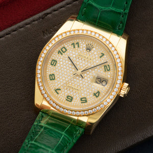 Rolex Datejust 116188 18k YG  Mint Unisex 18k YG Pave Diamond with Green Numerals 36mm Automatic Current Green Crocodile Leather Travel Case