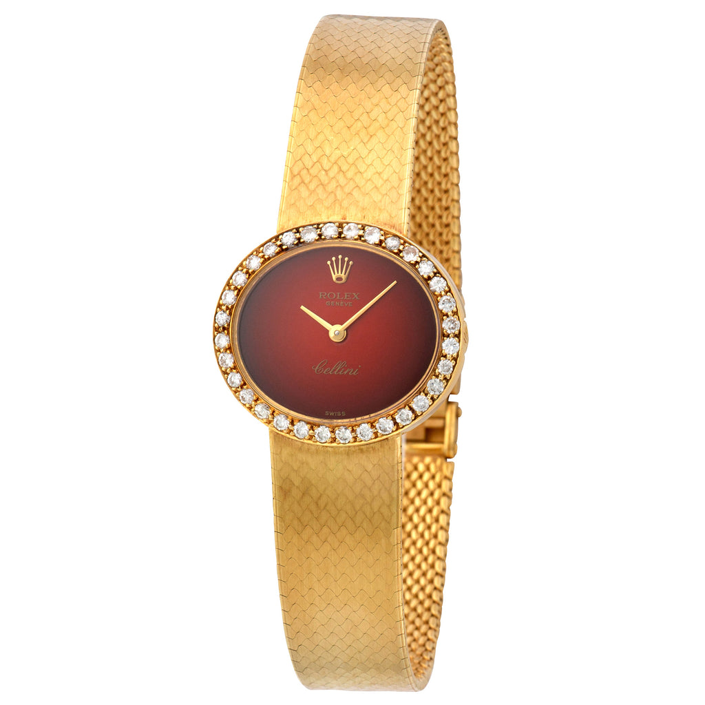 Rolex Cellini N/A 18k YG  Excellent Ladies 18k YG Red Vignette 25mm Manual 1970s Yellow Gold Bracelet Leather Travel Case