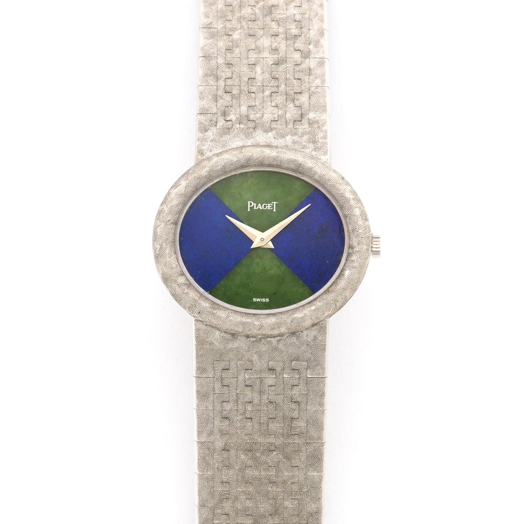 Piaget Vintage 98120 18k WG  Excellent Ladies 18k WG Lapis and Jade 27.3mm Manual 1970s White Gold Bracelet (165mm) Leather Travel Case