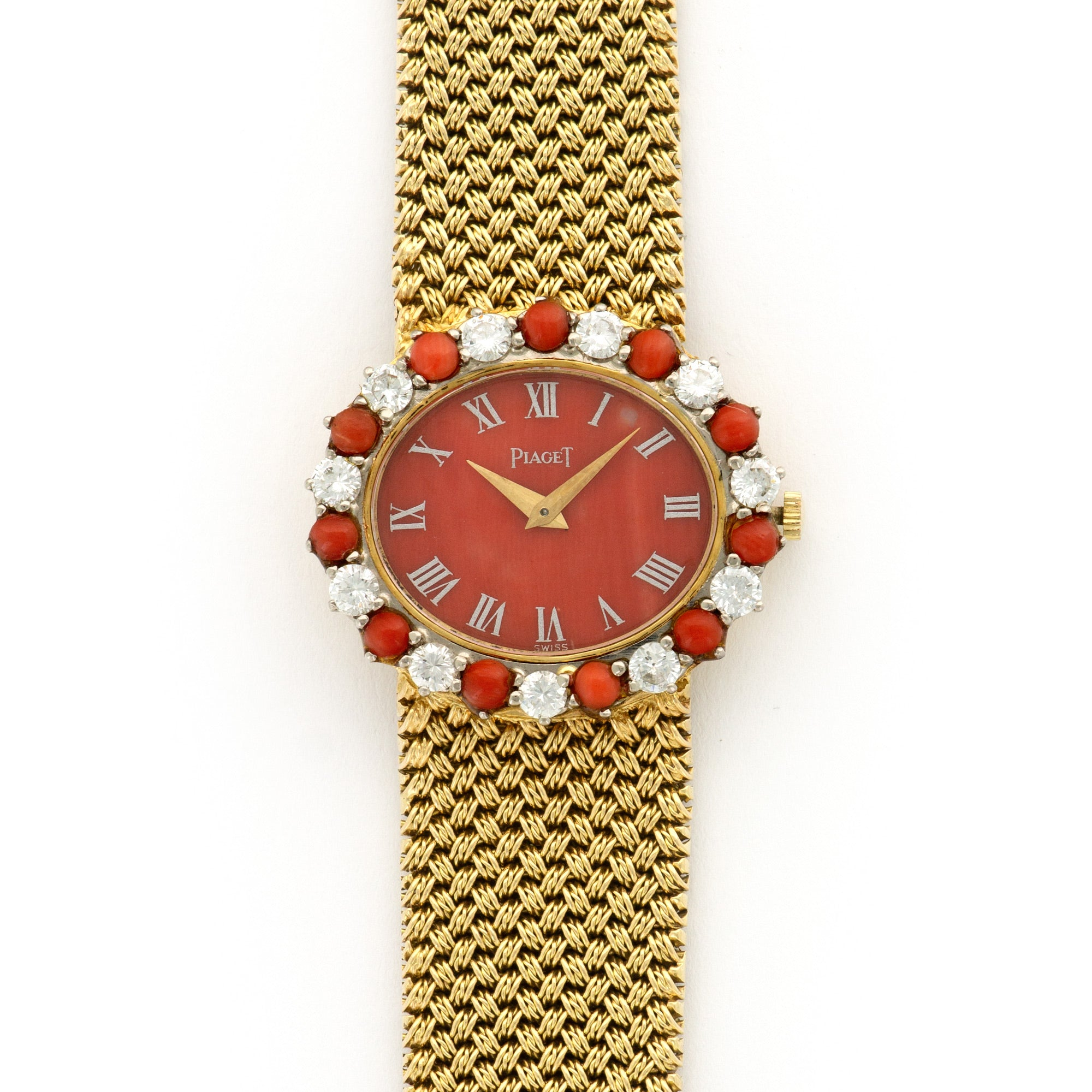 Piaget Vintage 9330 18k YG  Excellent Ladies 18k YG Coral 28mm Manual 1970s Yellow Gold Bracelet Leather Travel Case